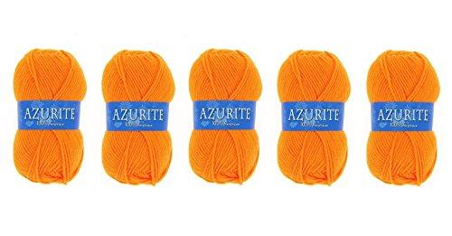 Lot 5 Pelotes de laine Azurite 100% Acrylique Tricot Crochet Tricoter - Orange - 007