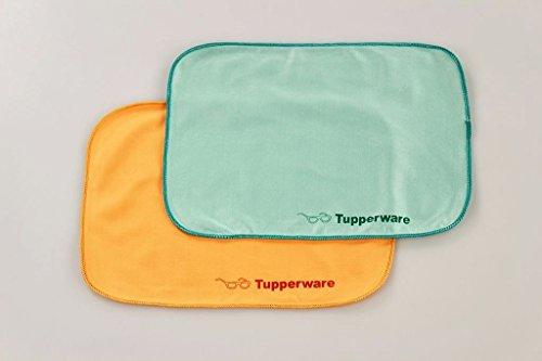 TUPPERWARE FaserPro Durchblick türkis + orange T18 Brillenputztuch Putztuch 17252