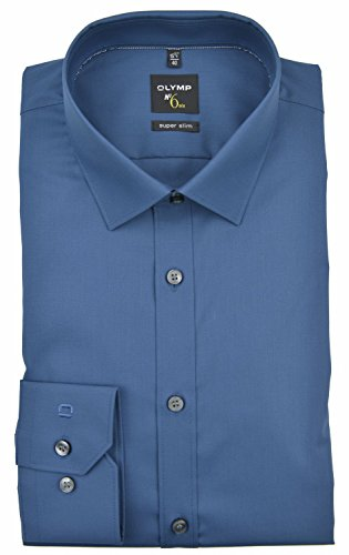 Herren Hemd No. 6 Super Slim Fit Langarm, 42, blau
