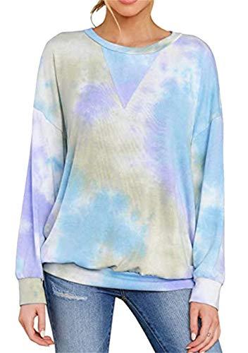 EFOFEI Damen Langarm Tie Dye Sweatshirt Multicolor Casual Tops V-Ausschnitt Lose Bluse Shirt Blau S