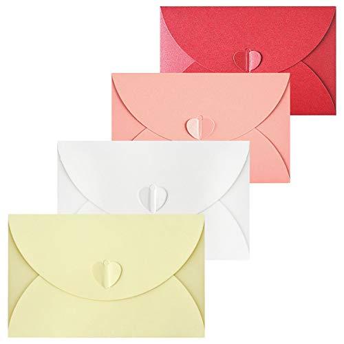 Gwolf Mini sobres de tarjetas de regalo, sobres de cierre de corazón, sobres de lujo, sobres de papel Kraft de colores cierre de corazón para tarjetas de regalo de San Valentín, 20 piezas
