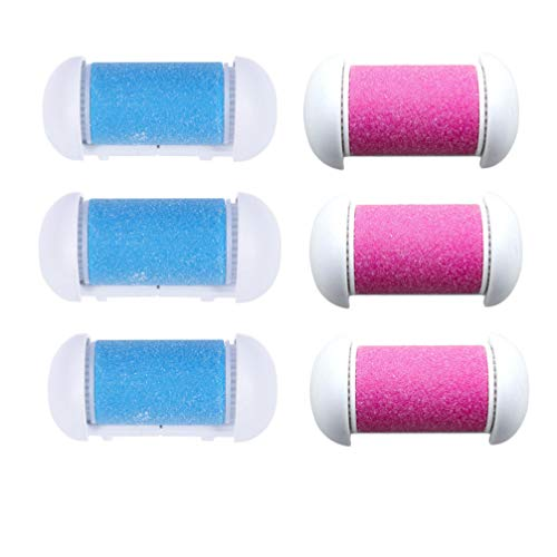 Beaupretty 6pcs Replacement Roller Refill Heads Coarse Replacement Roller Refill Heads for Electronic Foot File (Pink and Blue for Each 3pcs)