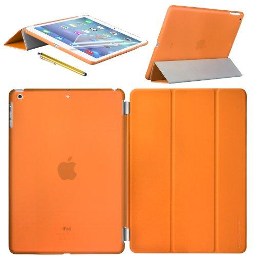 Swees Apple New iPad Air Smart Cover & TPU Back Hülle Cover Hülle Schutzhülle Etui Tasche für 2013 iPad Air iPad 5, Unterstützt Sleep / Wake Funktion+ Bildschirmschutzfolie und Stylus (Eingabestift) - Orange