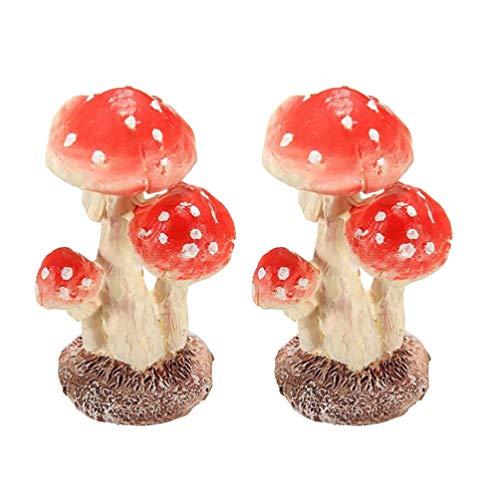 Garneck - Decorazioni Per Torte In Miniatura A Forma Di Fungo, In Resina, Per Decorazione Della Casa, 2 Pezzi, Resina, 1, Taglia 2