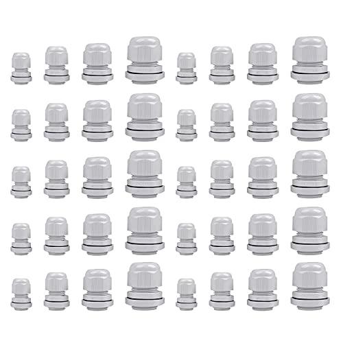 PhoenixDN 40 Piezas Prensaestopas a Prueba de Agua, Cable Glándula Conector, con Contratuerca y Arandela, Juntas de Prensaestopas M12, M16, M20, M25, M32, para Hogar Jardín Exterior etc
