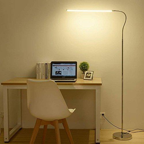 DSJ vloerlamp geleid staande lamp, leren, lezen verticale vloerlamp, oogbescherming verticale lamp (kleur: Drie kleurtemperatuur), LED12W46CM