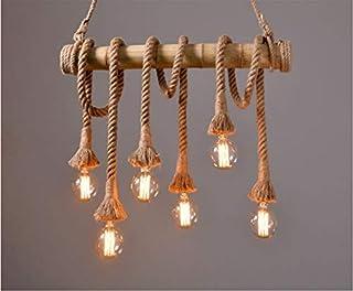 MR.3 Vintage Hanging Lamp Six Head Bamboo Hemp Rope Pendant Light Chandelier Ceiling Lights Lamp Holder E27 For Cafe Bar R...