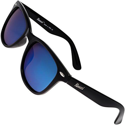 Rivacci Gafas de Sol Polarizadas Hombre Mujer – Marca Retro/Vintage – Lentes Deportivas Espejadas – Negras/Espejo Azul Polarizado