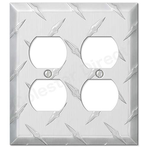 PARTSPLUS Diamond Plate Aluminum Wall Switch Plate Outlet Cover Toggle Rocker GFI Garage (Power Outlet-Duplex Double)