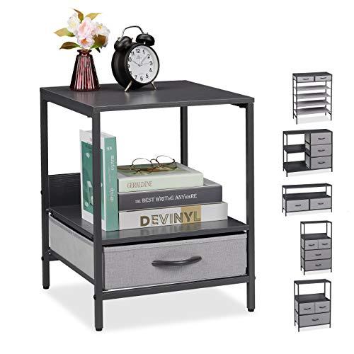 Relaxdays Beistelltisch, 1 Schublade, 2 Ablagen, eckig, MDF, Stoff, Metallgestell, Nachttisch, HBT 51 x 40 x 40 cm, grau