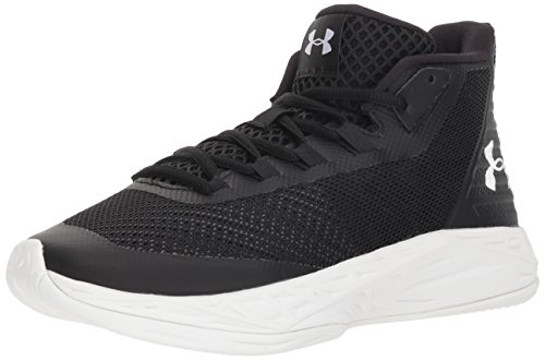 Under Armour Women's Jet Mid Basketball Shoe, Black (002)/White, 9