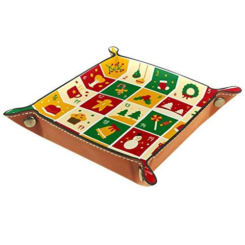 AITAI Valet Tray Veganes Leder Nachttisch Organizer Schreibtisch Storage Plate Catchall Weihnachten Adventskalender Plaid Muster