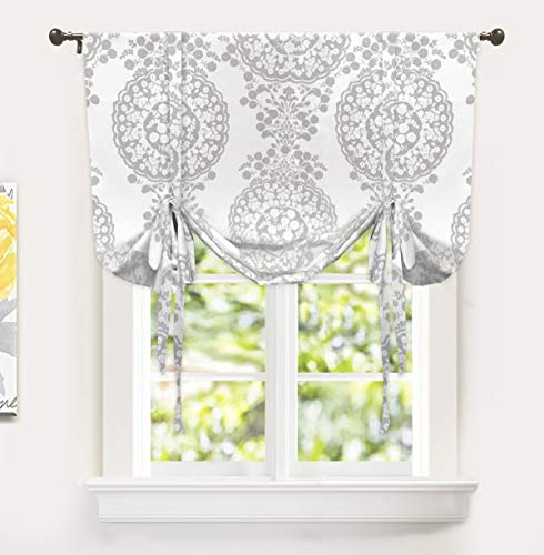 DriftAway Samantha Tie Up Curtain Floral Damask Pattern Room Darkening Thermal Insulated Adjustable Balloon Curtain Shade for Small Window Rod Pocket 1 Panel 45 Inch by 63 Inch Gray