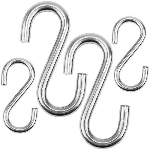 BlueXP 4 Stück S Haken schwerlast aus Edelstahl 304 Kleiderhaken 2 Größen D=8 mm L=80 mm Maximale Last= 100KG| D=5 mm L=53 mm Maximale Last=45KG| für Industrie Drahtseil Hängesessel Küche