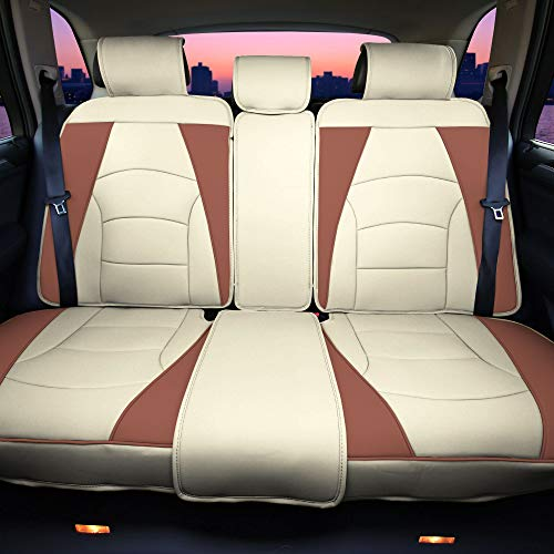 FH Group PU205013 Ultra Comfort Highest Grade Faux Leather Seat Cushions (Beige) Rear Set – Universal Fit for Cars Trucks & SUVs