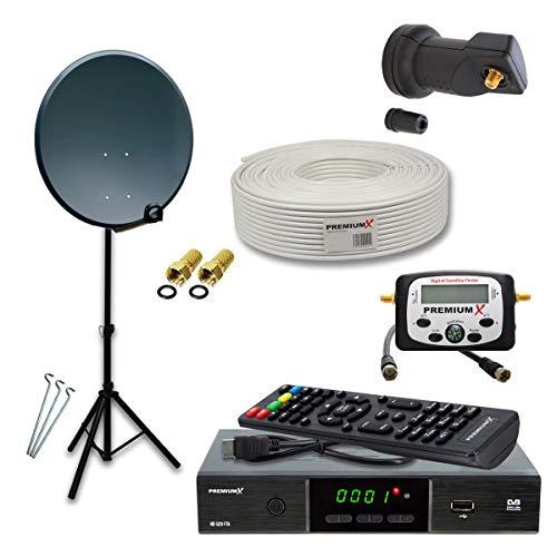 PremiumX Camping Mobile HD SAT Anlage 45cm Antenne Single LNB TV Antennenkabel Dreibein Stativ Satelliten-Receiver LCD SatFinder