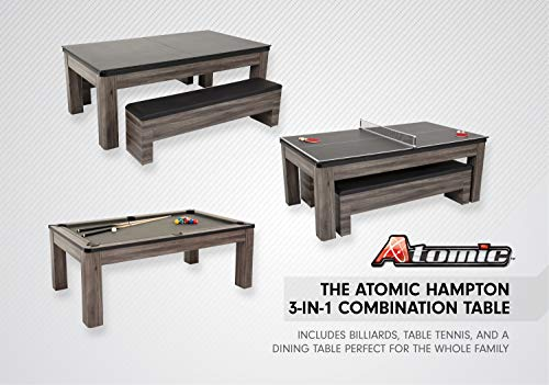 Atomic 7' Hampton 3-in-1 Combination Table Includes Billiards, Table Tennis, and Dining Table with Dual Storage Bench Seating, Grey