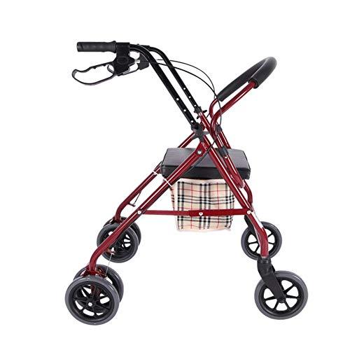 YAeele Plegable de 4 ruedas Compras, Carro con asiento acolchado y la cesta, Frenos bloqueables y bolsa de transporte, la compra de ancianos Adecuado para el baño de oficina Cocina RO para ni