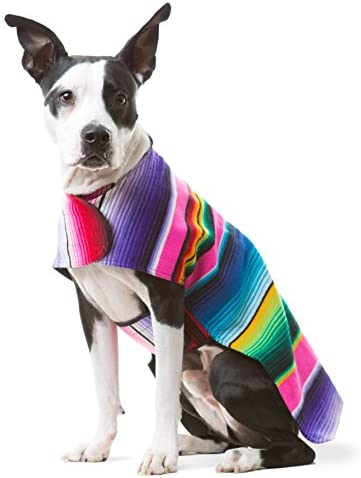 Dog Clothes Handmade Dog Poncho from Authentic Mexican Blanket by Baja Ponchos Pink No Fringe product image