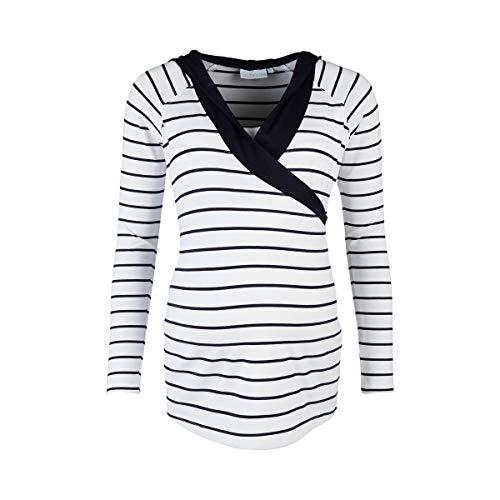 2HEARTS Stillshirt Wellness mit Kapuze Marine T-Shirt de Grossesse T-Shirt de Grossesse, Stripes Blanc/Marine