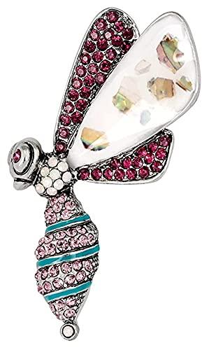 Lzpzz Creativo de aleación Broches y alfileres para las mujeres Exquisito Rhinestone Rosa Insecto Patrón Noble Joyería Regalo Accesorios