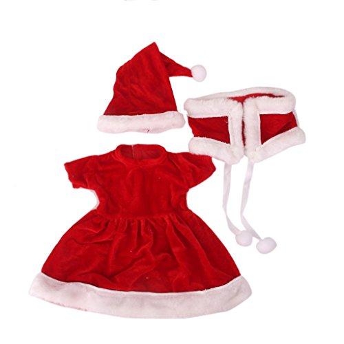 """Ropa De La Mu?eca Se Ajusta A 18  """"vestido Hecho A Mano Partido Rojo Conjunto Navidad Chica Americana"""