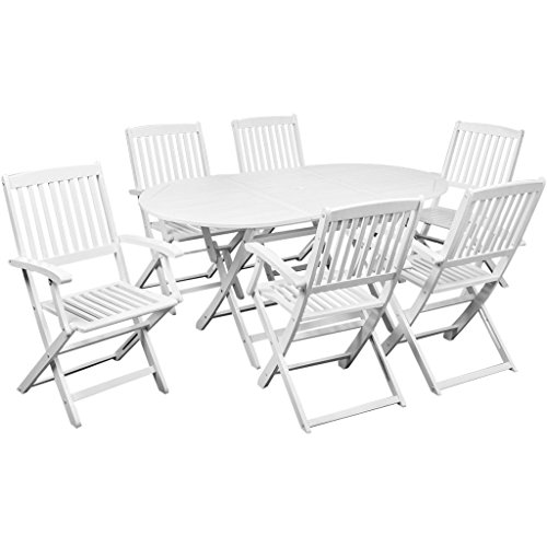 Festnight White Wood Folding Patio Dining Set