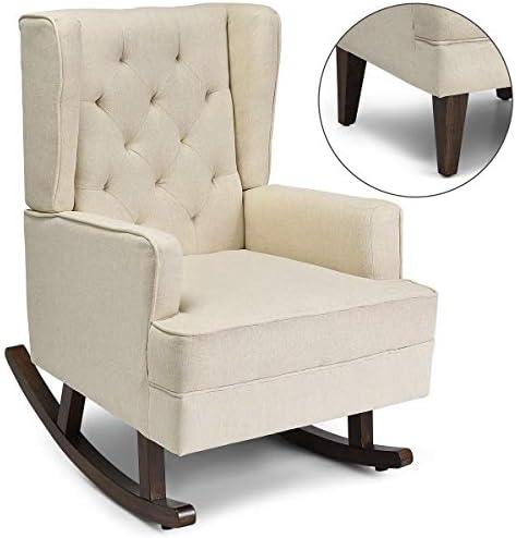 Best Giantex Nursery Rocking Chair, Modern High Back Fabric Armchair, Comfortable Relax Rocking Chair, Le