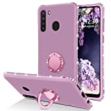 Telaso Samsung Galaxy A21 Case, Slim Liquid Silicone Sparkle Bling Diamond Rhinestone Bumper with Ring Kickstand Shockproof Protective Galaxy A21 Phone Case Cover for Girls Women, Purple/Lavender