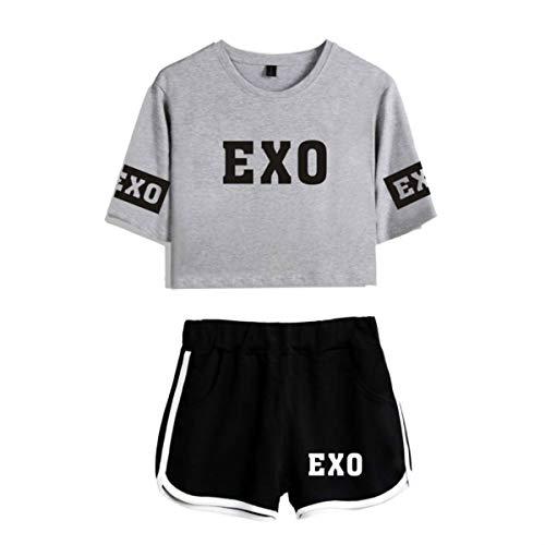 KPOP Exo Set de Dos Piezas Mujer Verano Camiseta de algodón Blusas/Pantalones Cortos...
