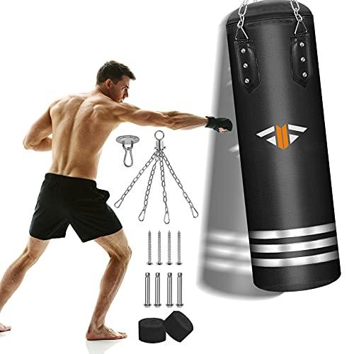 Boxsack Gefüllt Set für Erwachsene/Kinder, 2021 Upgrade, 70LBS/42Inches Hanging Boxing Heavy Bag für Kickboxen, Muay Thai, MMA, Martial Arts Home Gym Training