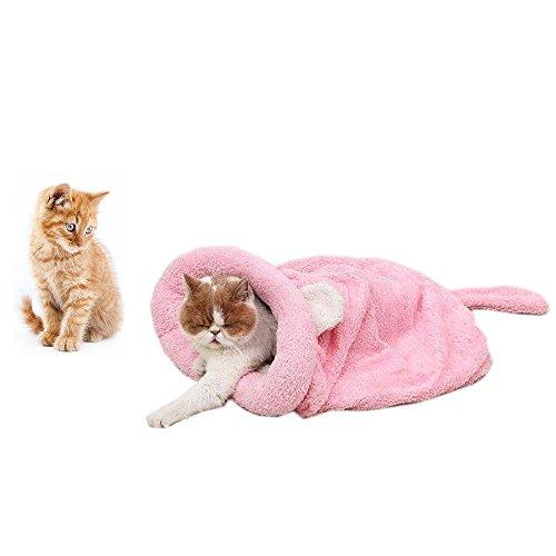 HongYH Weiches Warmes Katze Schlafsack, Zone Pet Höhle Bett Cozy Cuddle Tasche, selbstwärmende Kitty Sack verdeckt Kapuzen Pet Höhle für Katzen und Welpen