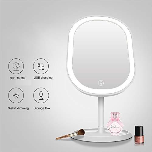 WBFN Make-up spiegel, HD natuurlijk licht 180 graden Rotaion vrouw make-up lamp make-up spiegel kaptafel licht opladen via USB (Emitting Color : White)