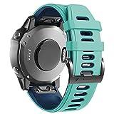 ANBEST Pulsera de Silicona Compatible con Fenix 6X/Fenix 5X Correa, Pulsera de Repuesto de 26mm con Liberación Rápida para Fenix 5X Plus/Fenix 6X Pro/Fenix 3/Fenix 3HR, Menta/Azul
