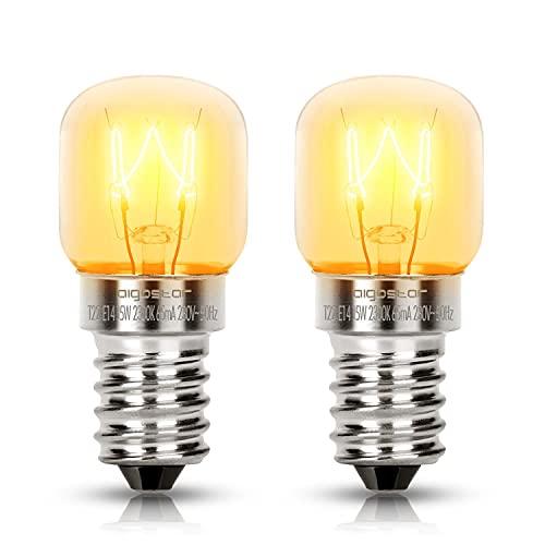 Aigostar - Bombilla T22, Bombillas para hornos, microondas o lámpara de Sal. Potencia 15W, E14 Casquillo delgado, luz cálida 2300K, 90 lm. Alta tolerancia al calor hasta 300 ℃. Blister de 2 uds.