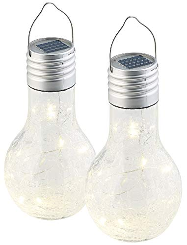 Lunartec Hängeleuchte: 2er-Set Deko-LED-Glühbirne im Crackle-Glas-Design, Solar-Sensor (LED-Solar-Beleuchtungen Garten)