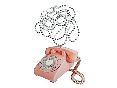 Miniblings Telefon Kette Halskette 80cm Scheibentelefon Holz Retro Vintage rosa - Handmade Modeschmuck - Kugelkette versilbert