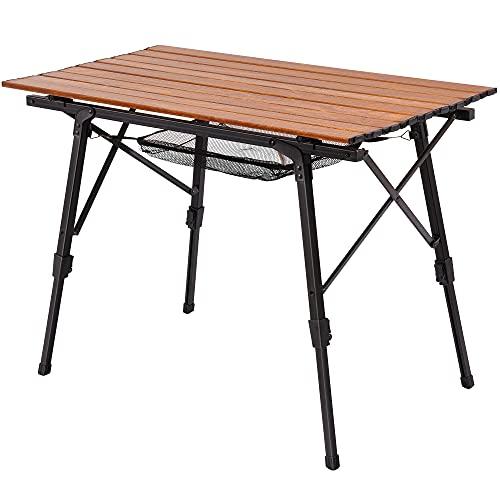 Rolife アウトドアテーブル キャンプテーブル ローテーブル アウト ドア テーブル おりたたみ アルミ 二段階大容量 4足独立調整 快速展開 軽量 幅さ90cm奥行き50cm高さ45-65cm