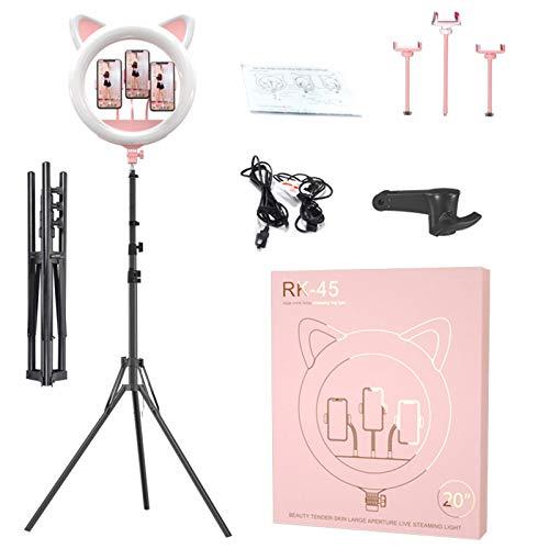 HGCF Kit de luz de Anillo, Luces de Anillo de Oreja de Gato LED de 20 Pulgadas con 3 Soportes telefónicos y Soporte trípode 3000K-6500K Regulable para Video Selfie y Maquillaje,Rosado