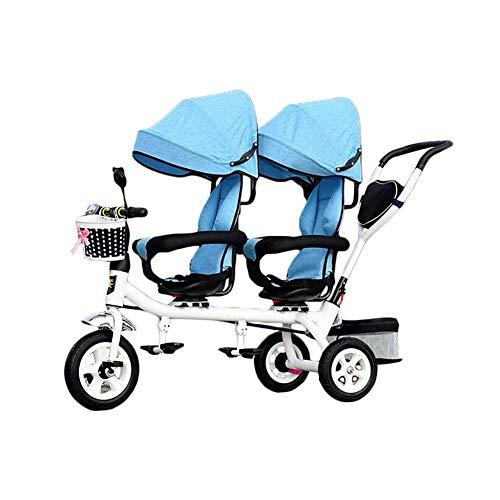 Triciclo Bebe Niños 4 En 1 Trike Por Dos Piezas: Niño De 3 Ruedas Del Triciclo Bici Con La Cesta, Infantil Del Bebé Gemelo Asientos Carro For Multicolores 1-7 Años De Edad, ( Color : Blue )