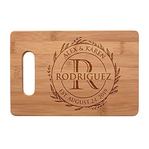 Personalized Cutting Board, Christmas, Housewarming, Wedding Gifts for Couple, Custom Engraved Bamboo Cutting Board with Handle 9 Designs, Small