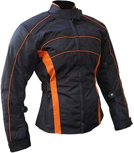 Heyberry Damen Motorrad Jacke Motorradjacke Schwarz Orange Gr.XXL