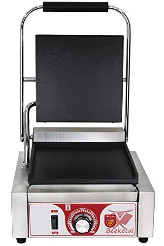 Beeketal 'BKG3' Gastro Kontaktgrill mit Gusseisen Grillpatten (oben und unten glatt) mit Fettauffangschale, Profi Edelstahl Elektrogrill ideal als Panini Grill Maker oder Sandwich Toaster