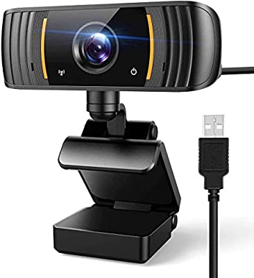1080P Webcam with Microphone, USB PC Camera Webcam for Desktop/Laptop, Web Cameras for Computers, 2K FHD Streaming Webcam for YouTube, Video Calling, Online Classes, Conferencing, Gaming (Orange)