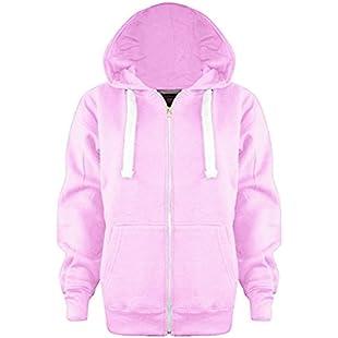 Vanilla Inc® Boys Girls Junior New Zip Top PLAIN Fleece Hooded Sports HOODIE Football Boxing Martial Art Activewear Fitness Jacket School Holidays Outwear Coat 3-13 Yr (Age 11-12 Years, Baby Pink)
