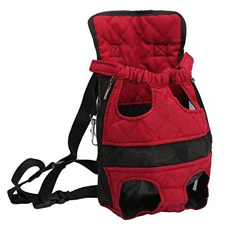Fuudear Haustier Rucksack Einstellbare Leichte Kopf Beine Schwanz Tragbare Atmungsaktive Sicherheit Katze Hund Vordertasche Freisprechen Wandern Camping Rucksack Rot (Größe : S)