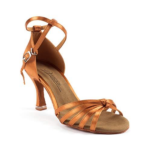 Dancine Ballroom lateinische Salsa Tango Tanzschuhe, doppelschichtige Fersenspitze, Premium-Satin, Vier Styles, (Peri Tan), 35.5 EU