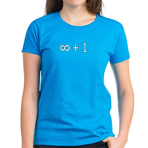 CafePress Infinity Plus One Women's Dark T Shirt Womens Cotton T-Shirt Caribbean Blue