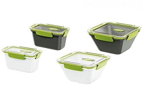Emsa 513959 Lunchbox mit Deckel, 0,9 Liter, Grün/Weiss, Bento Box
