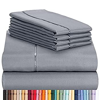 LuxClub 6 PC Sheet Set Bamboo Sheets Deep Pockets 18  Eco Friendly Wrinkle Free Sheets Machine Washable Hotel Bedding Silky Soft - Light Grey Queen
